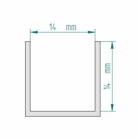 U - profil 8-10 mm-es üveghez, 3 m-es, fényes