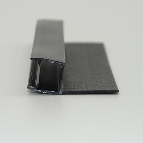 """MATT FEKETE """"h"""" profil 18 mm szoknyával 8 mm-es üveghez"""
